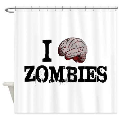 I brain zombies shower curtain by thegraphicsking for Zombie bathroom decor