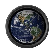 High Resolution EARTH From Space Large Wall Clock
