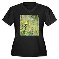 American Goldfinch Women's Plus Size V-Neck Dark T