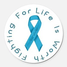 LightBlue Ribbon - Survivor Round Car Magnet