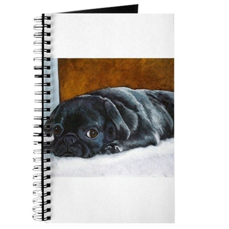 Resting Black Pug Puppy Journal