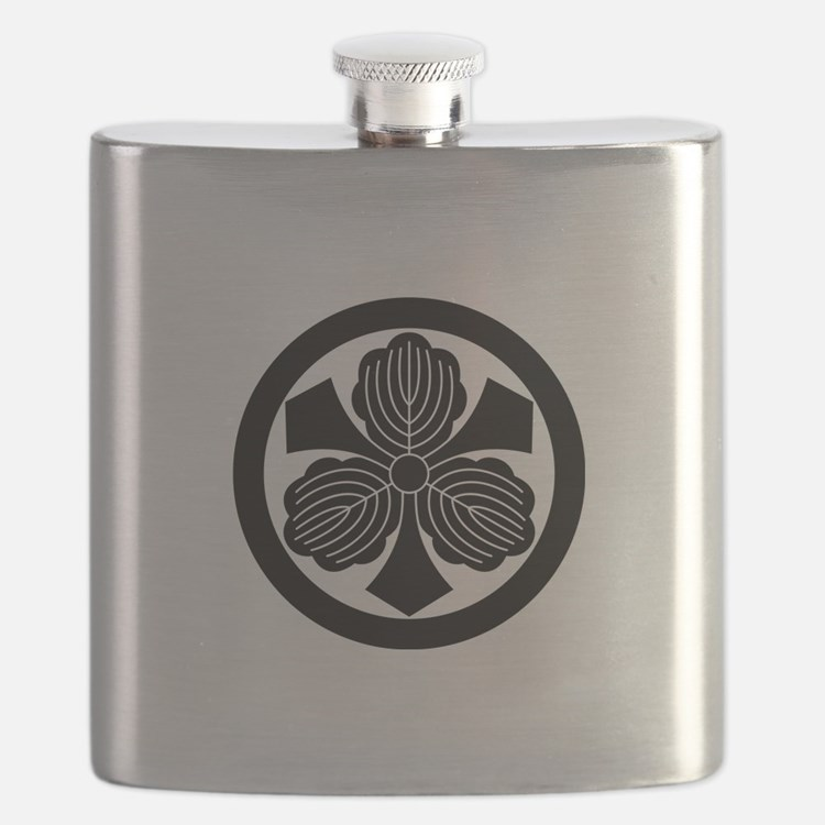 Three oak leaves with swords in circle Flask