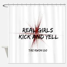 Taekwondo Girls Kick Shower Curtain