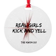 Taekwondo Girls Kick Ornament
