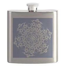 White Snowflake On Blue, Flask