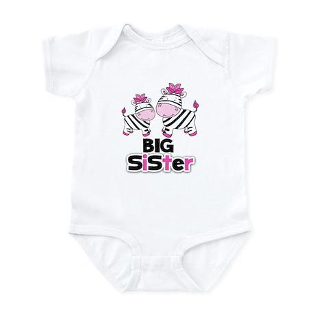 Big Sister Pink Zebras Infant Body Suit