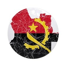 Angola Flag And Map Ornament (Round)