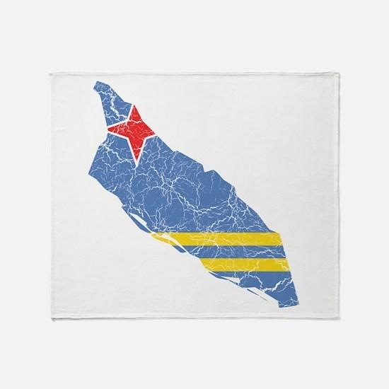 Aruba Flag And Map Throw Blanket