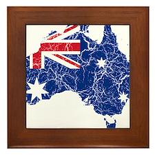 Australia Flag And Map Framed Tile