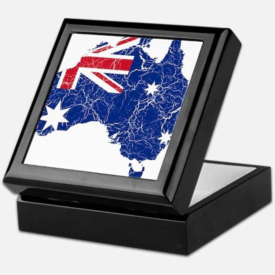Australia Flag And Map Keepsake Box