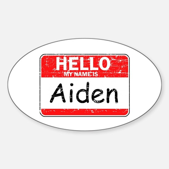 Hello My name is Aiden Sticker (Oval)
