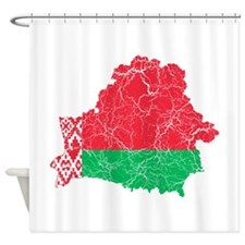 Belarus Flag And Map Shower Curtain