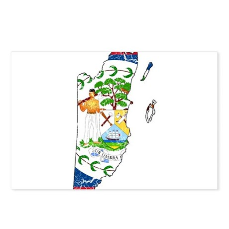 Belize Flag And Map Postcards (Package of 8)