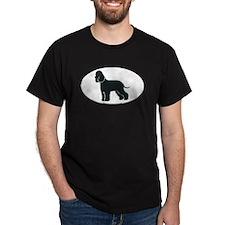Irish Water Spaniel Silhouette Black T-Shirt