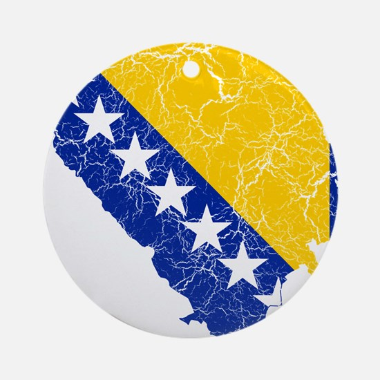 Bosnia And Herzegovina Flag And Map Ornament (Roun