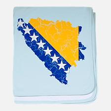 Bosnia And Herzegovina Flag And Map baby blanket