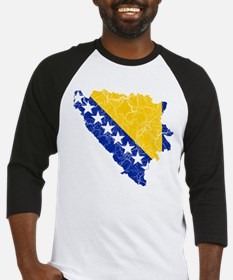 Bosnia And Herzegovina Flag And Map Baseball Jerse