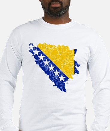 Bosnia And Herzegovina Flag And Map Long Sleeve T-