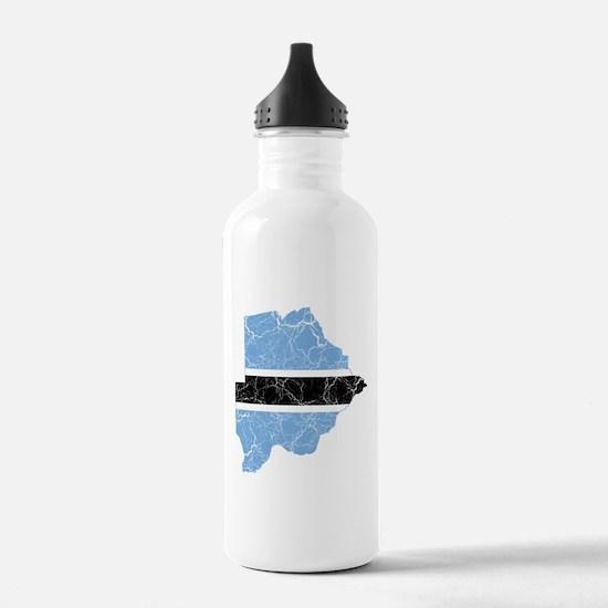 Botswana Flag And Map Water Bottle