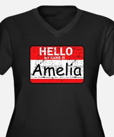 Hello My name is Amelia Women's Plus Size V-Neck D
