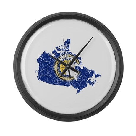 canada commonwealth flag and map large wall clock by