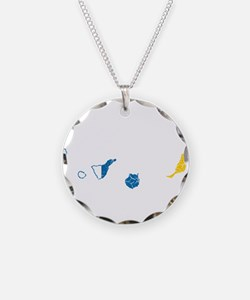Canary Islands Flag And Map Necklace