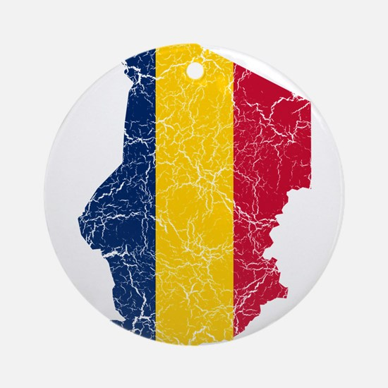 Chad Flag And Map Ornament (Round)