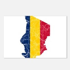 Chad Flag And Map Postcards (Package of 8)