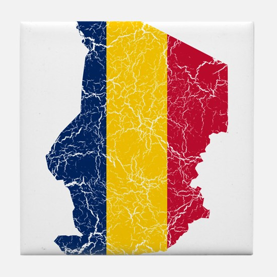 Chad Flag And Map Tile Coaster