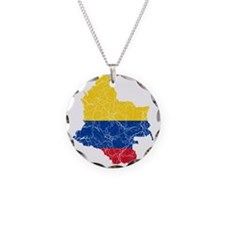 Colombia Flag And Map Necklace