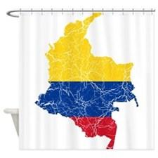 Colombia Flag And Map Shower Curtain