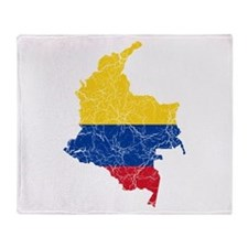 Colombia Flag And Map Throw Blanket