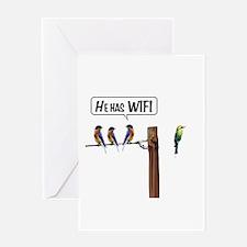 He has WiFi Greeting Card