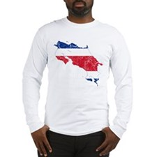 Costa Rica Flag And Map Long Sleeve T-Shirt