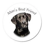 Man's Best Friend Round Car Magnet