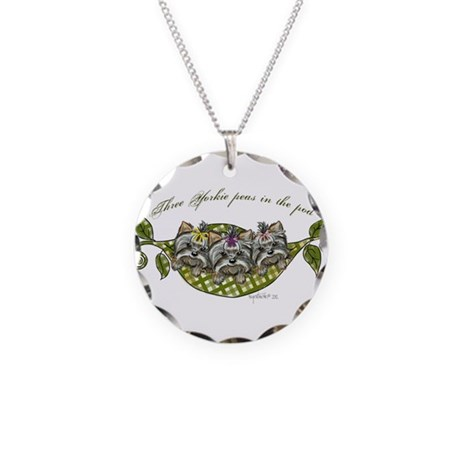 Three yorkie peas in the pod Necklace Circle Charm