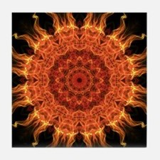 Flaming Mandala Tile Coaster