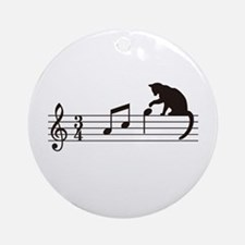 Cat Toying with Note v.1 Ornament (Round)