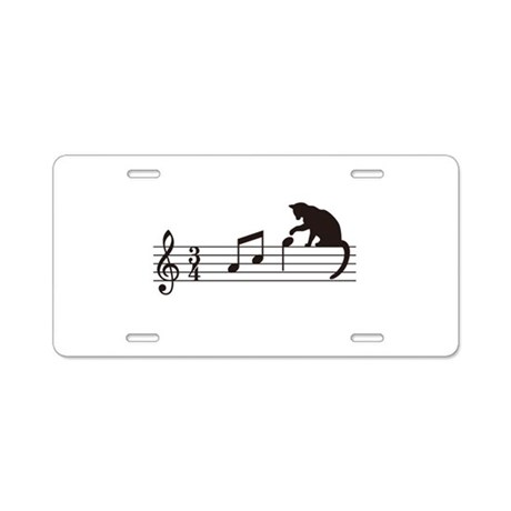 Cat Toying with Note v.1 Aluminum License Plate