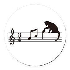 Cat Toying with Note v.1 Round Car Magnet