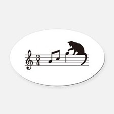 Cat Toying with Note v.1 Oval Car Magnet