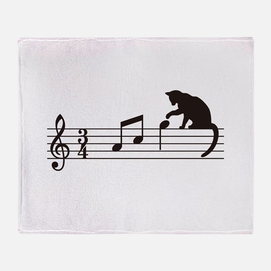 Cat Toying with Note v.1 Throw Blanket