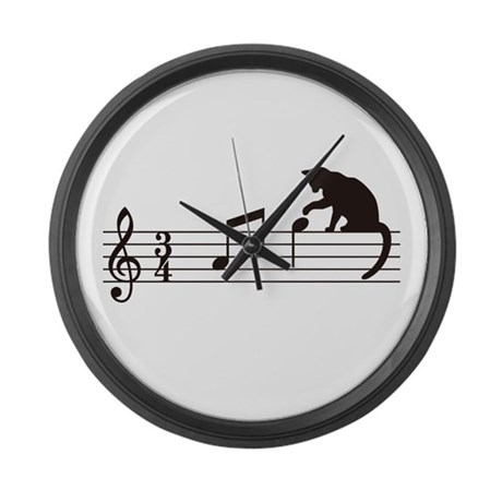 Cat Toying with Note v.1 Large Wall Clock