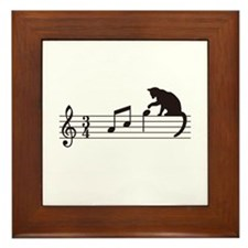 Cat Toying with Note v.1 Framed Tile