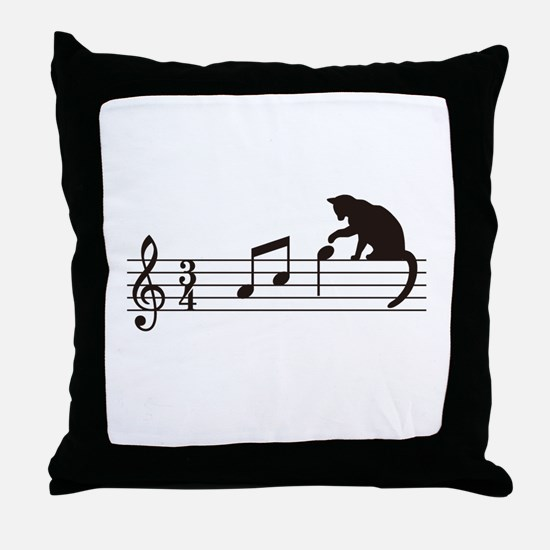 Cat Toying with Note v.1 Throw Pillow