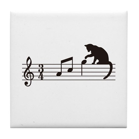 Cat Toying with Note v.1 Tile Coaster