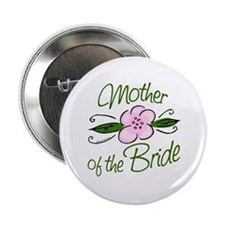 "Pink Flower Mother of Bride 2.25"" Button"