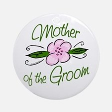 Pink Flower Mother of Groom Ornament (Round)