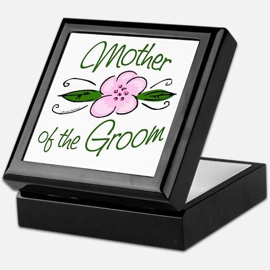 Pink Flower Mother of Groom Keepsake Box