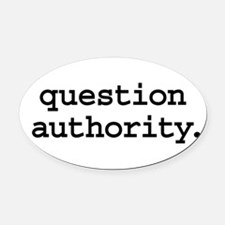 questionauthorityblk.png Oval Car Magnet